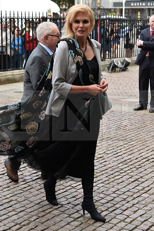 © Licensed to London News Pictures. 07/06/2017. London, UK.  JOANNA LUMLEY attends a service of Thanksgiving for the life and work of RONNIE CORBETT at Westminster Abbey. The entertainer, comedian, actor, writer, and broadcaster was best known for his long association with Ronnie Barker in the BBC television comedy sketch show The Two Ronnies. Photo credit: Ray Tang/LNP