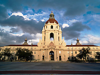 Pasadena City Hall at Sunset from Garfield Avenue, California