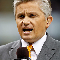 November 28, 2011; New Orleans, LA, USA; ESPN reporter John Sutcliffe prior to kickoff of a game between the New Orleans Saints and the New York Giants at the Mercedes-Benz Superdome. Mandatory Credit: Derick E. Hingle-US PRESSWIRE