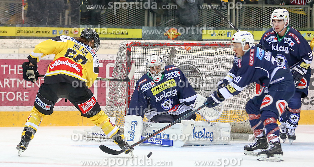 28.12.2015, Albert Schultz Halle, Wien, AUT, EBEL, UPC Vienna Capitals vs EC VSV, 36. Runde, im Bild Troy Milan (Vienna Capitals) , Jean Philippe Lamoureux (EC VSV) und Nico Brunner (EC VSV) // during the Erste Bank Icehockey League 36th round match between UPC Vienna Capitals and EC VSV at the Albert Schultz Halle in Vienna, Austria on 2015/12/28. EXPA Pictures © 2015, PhotoCredit: EXPA/ Alexander Forst