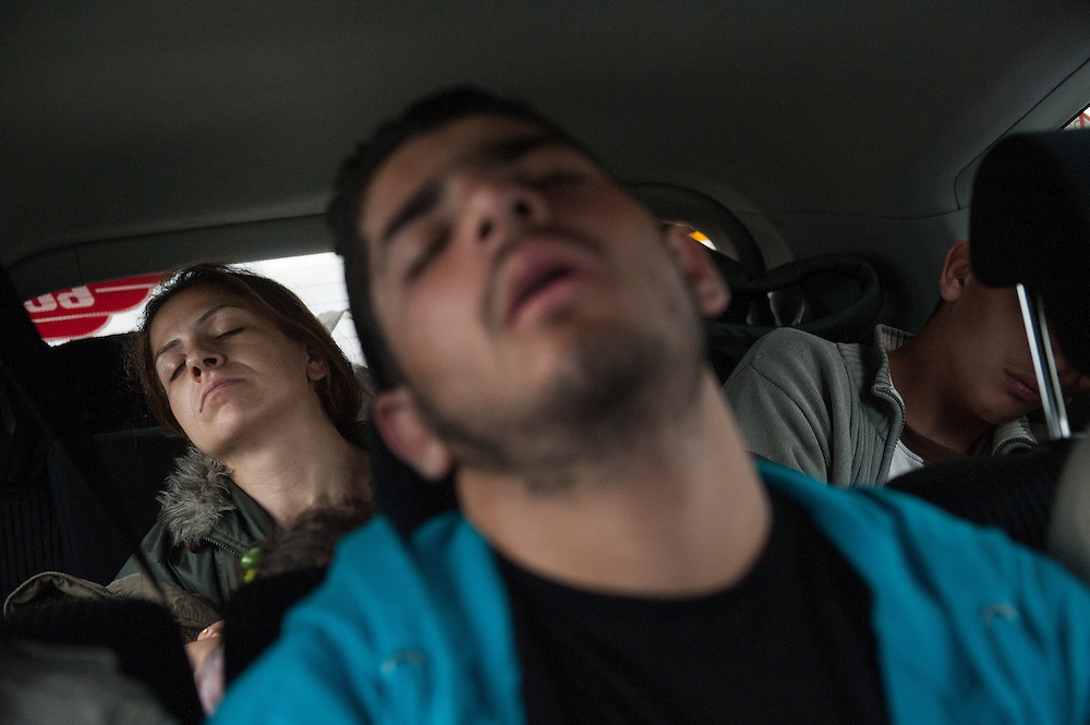 Morning, Tuesday 15th of September 2015. Aysha took a taxi to Vienna, together with the three Syrian teenagers who were helping her carry her kids from Serbia to Hungary. As soon as the taxi drove off everyone fell asleep.