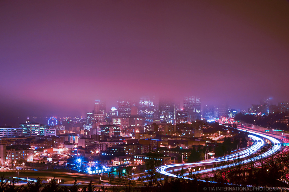 "Seattle skyline (a.k.a. ""fogline"") during the city's Fog Affair of January & February 2013."