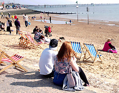 MAR 29 2014 HOT WEATHER ON BEACH IN SOUTHEND