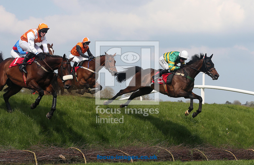 Nina Carberry on Be Positive lands in front to win the Kildare Hunt Club Fr.Sean Breen Memorial Steeplechase at Punchestown Festival at Punchestown Racecourse, Co.Kildare<br /> Picture by Lorraine O'Sullivan/Focus Images Ltd +353 872341584<br /> 29/04/2014