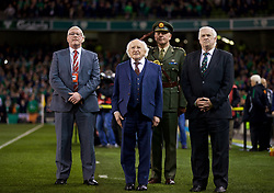 DUBLIN, REPUBLIC OF IRELAND - Friday, March 24, 2017: FAW President David Griffiths, President of Ireland Michael D. Higgins, FAI President Paddy McCaul before the 2018 FIFA World Cup Qualifying Group D match between Wales and Republic of Ireland at the Aviva Stadium. (Pic by David Rawcliffe/Propaganda)