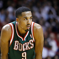 22 January 2012: Milwaukee Bucks point guard Shaun Livingston (9) rests during the Milwaukee Bucks 91-82 victory over the Miami Heat at the AmericanAirlines Arena, Miami, Florida, USA.