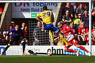 Marcello Trotta of Brentford scores the opening goal during the Sky Bet League 1 match at the Matchroom Stadium, London<br /> Picture by David Horn/Focus Images Ltd +44 7545 970036<br /> 15/03/2014
