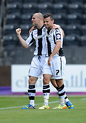 Notts County's Zeli Ismail celebrates his goal with Notts County's Gary Jones - Photo mandatory by-line: Dougie Allward/JMP - Mobile: 07966 386802 31/08/2014 - SPORT - FOOTBALL - Nottingham - Meadow Lane - Notts County v Bristol City - Sky Bet League One