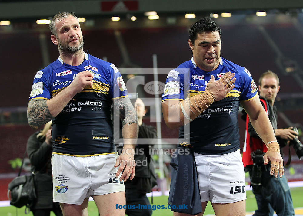 Jamie Peacock and Kylie Leuluai of Leeds Rhinos celebrate after winning the First Utility Super League Grand Final against Wigan Warriors at Old Trafford, Manchester.<br /> Picture by Michael Sedgwick/Focus Images Ltd +44 7900 363072<br /> 10/10/2015
