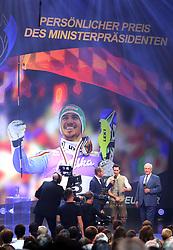 """13.07.2019, BMW Welt, Muenchen, GER, Bayerischer Sportpreis Verleihung, im Bild Felix Neureuther erhält den """"Persönlichen Preis des Ministerpräsidenten"""" von Staatsminister Joachim Herrmann // during the Bavarian Sports Award at the BMW Welt in Muenchen, Germany on 2019/07/13. EXPA Pictures © 2019, PhotoCredit: EXPA/ SM<br /> <br /> *****ATTENTION - OUT of GER*****"""