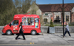 © Licensed to London News Pictures. 20/04/2018. Salisbury, UK. An ice cream van waits for customers on the road in front of The Mill pub as a cleanup operation begins in Salisbury. Former Russian Spy Sergei Skripal and his daughter Yulia were poisoned using a nerve agent in the city last month. Experts have warned that 'Toxic levels' of the nerve agent novichok could still be present at hot spots around the city. Photo credit: Peter Macdiarmid/LNP