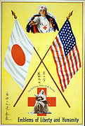 Emblems of Liberty and Humanity: The Red Cross, Mother of All Nations. Red Cross nurses between the flags of United States and Japan. World War I 1914-1918 Red Cross poster.  NGO