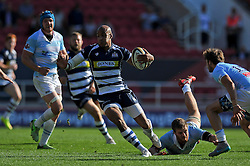 Tom Varndell of Bristol Rugby takes on the Bedford Blues defence - Photo mandatory by-line: Patrick Khachfe/JMP - Mobile: 07966 386802 06/09/2015 - SPORT - RUGBY UNION - Bristol - Ashton Gate - Bristol Rugby v Bedford Blues - Greene King IPA Championship