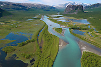 The famous Rapa river delta, Sarek National Park, Laponia UNESCO World Heritage Site, Greater Laponia rewilding area, Lapland, Norrbotten, Sweden