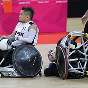 USA V TEAM GB IN THE WHEELCHAIR RUGBY MATCH AT THE  LONDON 2012 PARALYMPIC GAMES