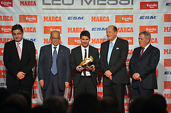 Barcelona forward Lionel Messi has been presented with the Golden Boot award after finishing as the top goalscorer in Europe last season, Barcelona, Spain, October 29, 2012. Photo by Santiago Delgado / Sevenpixnews / i-Images...UK ONLY.SPAIN OUT
