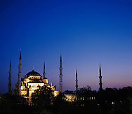 Turkey, Istanbul, Blue Mosque at Dusk