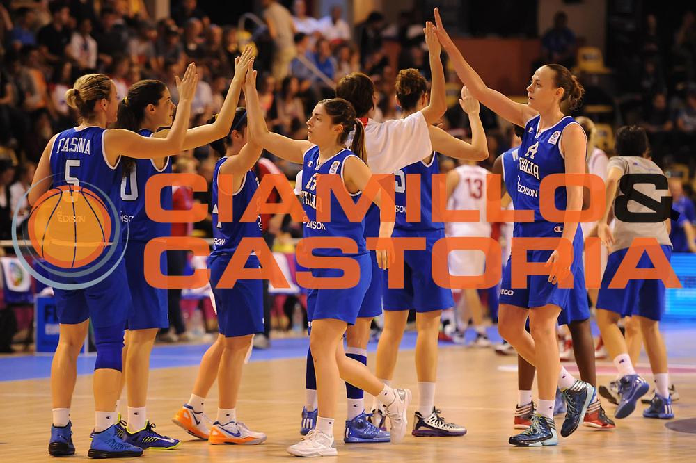 DESCRIZIONE : Vannes 17 giugno 2013 Eurobasket 2013 femminile<br /> Italia Nazionale Femminile Russia<br /> GIOCATORE : Team<br /> CATEGORIA : <br /> SQUADRA : Italia Nazionale Femminile <br /> EVENTO : Eurobasket 2013<br /> Italia Nazionale Femminile Russia<br /> GARA : Italia Nazionale Femminile Russia<br /> DATA : 17/06/2013<br /> SPORT : Pallacanestro <br /> AUTORE : Agenzia Ciamillo-Castoria/M.Marchi<br /> Galleria : Eurobasket 2013<br /> Fotonotizia : Vannes 17 giugno 2013 Eurobasket 2013 femminile<br /> Italia Nazionale Femminile Russia<br /> Predefinita :
