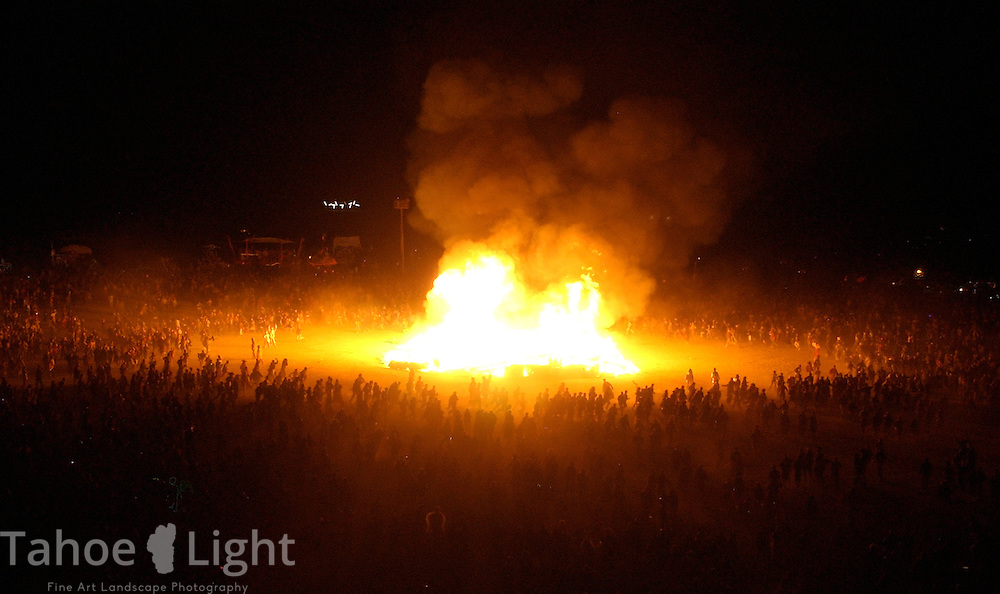 """The """"Man"""" is ritually burned Saturday night in the culmination of the Burningman counter culture arts festival in the Black Rock Desert 100 miles north east of Reno, NV, Friday, Sept 3, 2004.(Photo Scott Sady/Reno, Gazette-Journal)."""