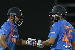 March 14, 2018 - Colmbo, Sri Lanka - Indian cricketers Rohit Sharma and Suresh Raina during the 5th Twenty-20 cricket match of NIDAHAS Trophy between Bangladesh and India at R Premadasa cricket ground, Colombo, Sri Lanka on Wednesday 14 March 2018. (Credit Image: © Tharaka Basnayaka/NurPhoto via ZUMA Press)