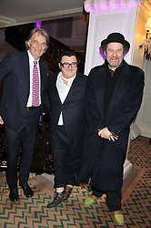 Left to right, SIR PAUL SMITH, ALBER ELBAZ and MIKE FIGGIS at the unveiling of the Claridge's Christmas tree 2011 designed by Alber Elbaz for Lanvin held at Claridge's, Brook Street, London on 5th December 2011.