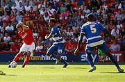 Tony Watt strikes to put Charlton 1-0 up early in the second half during the Sky Bet Championship match between Charlton Athletic and Queens Park Rangers at The Valley, London, England on 8 August 2015. Photo by Andy Walter.