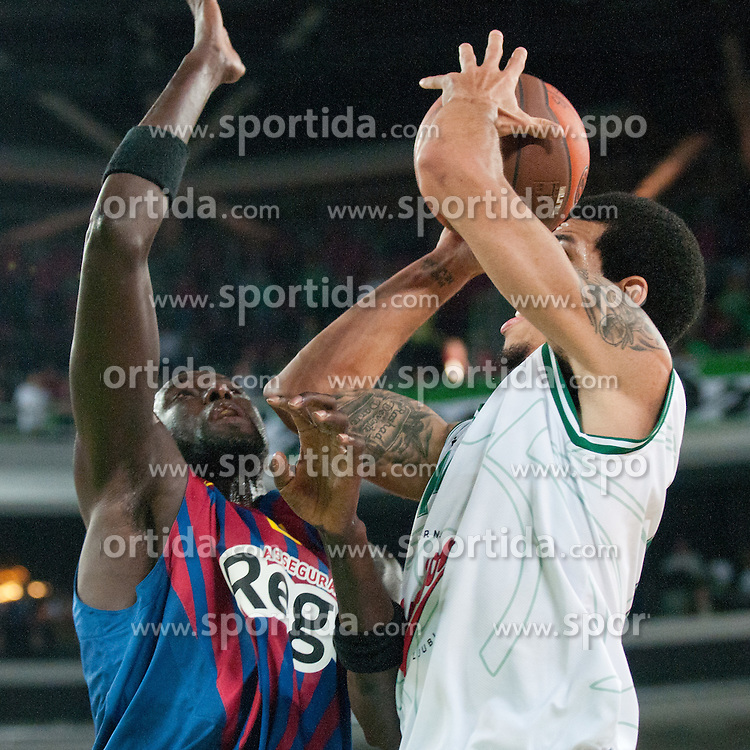 Danny Green of Union Olimpija vs Boniface Ndong of FC Barcelona Regal during basketball match between KK Union Olimpija and FC Barcelona Regal of 1st Round in Group D of Regular season of Euroleague 2011/2012 on October 20, 2011, in Arena Stozice, Ljubljana, Slovenia. (Photo by Matic Klansek Velej / Sportida)