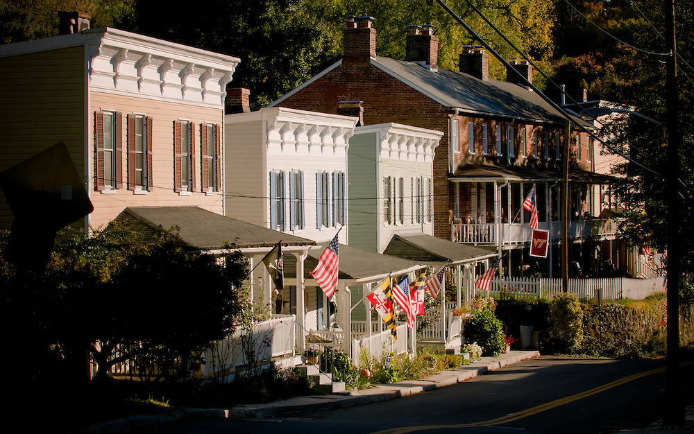 Victorian houses line Oella, Ave. in historic Oella, Maryland.
