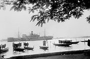 Boats in Marina, Men Assembled Under Tree, Lagos, Nigeria, Africa, 1937