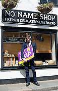 Ukip supporter waiting to accompany leader Nigel Farage on walkabouts in Sandwich, 5th May 2015.