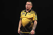 Dave Chisnall reaction after missing a dart at a double during the Grand Slam of Darts, at Aldersley Leisure Village, Wolverhampton, United Kingdom on 11 November 2019.