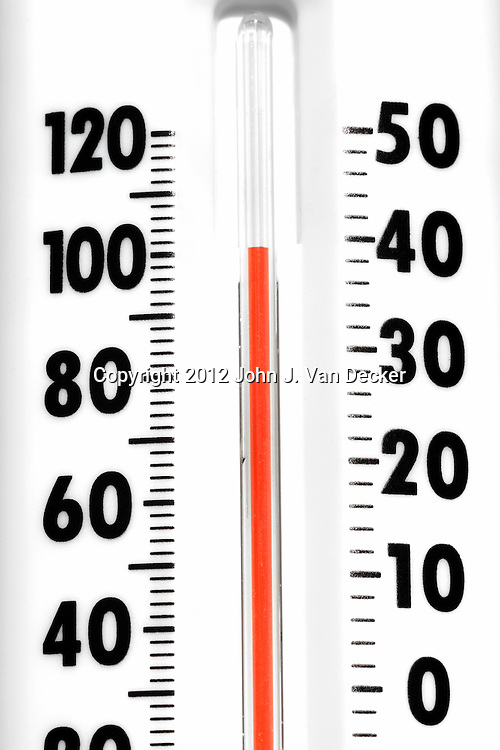 A Thermometer registering 100 degrees Farenheit