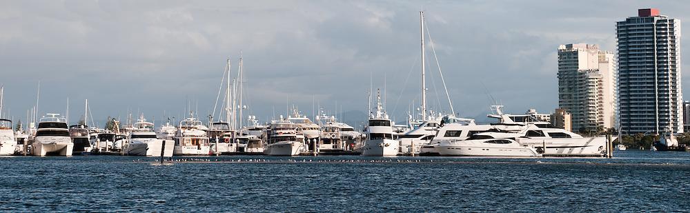 Yachts moored at Marina Mirage, Broadwater, Gold Coast, Queensland, Australia