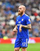 Aron Gunnarsson (17) of Cardiff City during the Premier League match between Cardiff City and Chelsea at the Cardiff City Stadium, Cardiff, Wales on 31 March 2019.