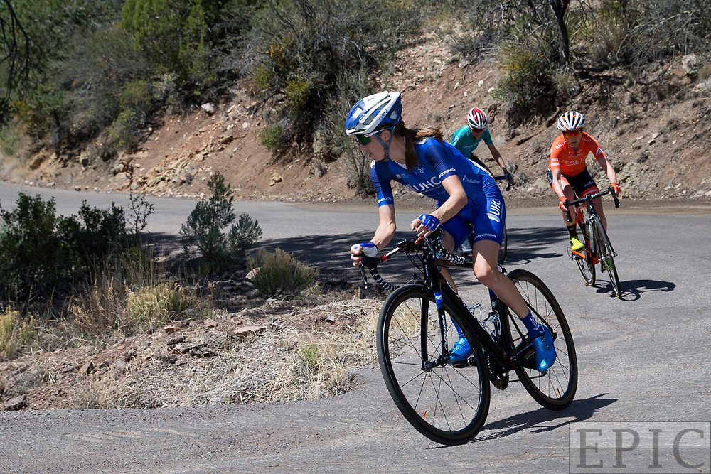 SILVERY CITY, NM - APRIL 18: Katharine Hall (UnitedHealthcare Pro Cycling Team) opens up a gap with 1K to go during stage 1 of the Tour of The Gila on April 18, 2018 in Silver City, New Mexico. (Photo by Jonathan Devich/Epicimages.us)