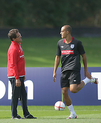 09.08.2010. Arsenal Training Ground, London, ENG, Nationalteam England Training, im Bild Fabio Capello, England Manager speak with Bobby Zamora, EXPA Pictures © 2010, PhotoCredit: EXPA/ IPS/ Mark Atkins *** ATTENTION *** UK ..AND FRANCE OUT! / SPORTIDA PHOTO AGENCY