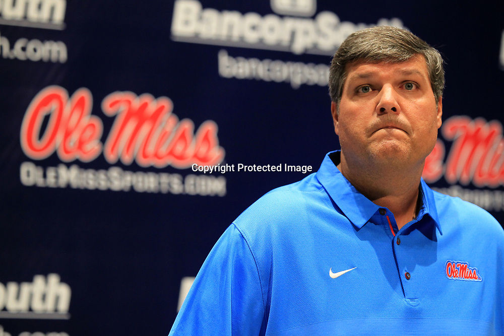 Ole Miss Interim Head Football Coach Matt Luke, answers questions about the upcoming season during media day at The Manning Center Wednesday afternoon in Oxford.