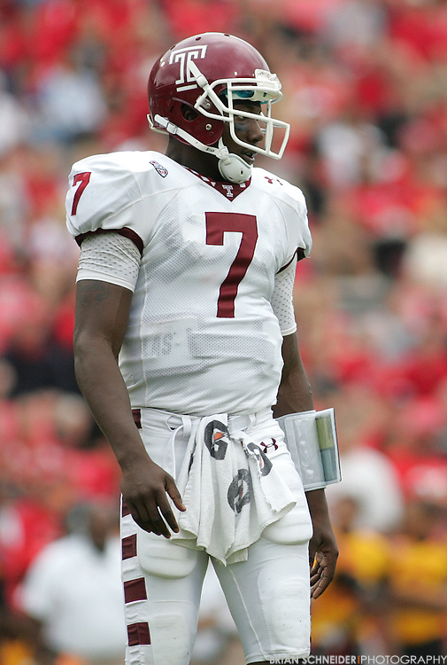 September 24, 2011; College Park, MD, USA; Temple Owls quarterback Chester Stewart (7) reacts against the Maryland Terrapins during first half at Byrd Stadium in College Park, Maryland. Brian Schneider-www.ebrianschneider.com