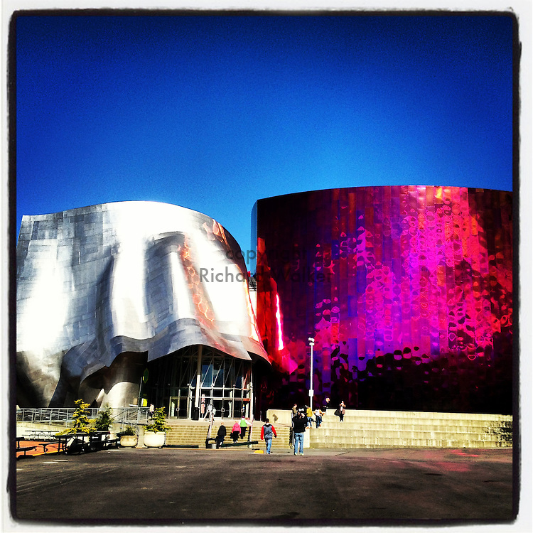 2013 April 16 - Exterior of EMP museum at Seattle Center, Seattle, WA, USA. Taken/edited with Instagram App for iPhone. By Richard Walker