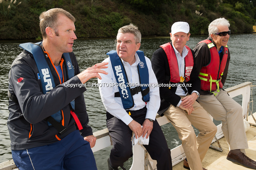 Mahe Drysdale, IOC president Thomas Bach, Mike Stanley (NZ IOC) and Barry Maister (NZ IOC member) on a barge at the Rowing NZ Media Day, Lake Karapiro, Cambridge, New Zealand, Wednesday 6 May 2015. Photo: Stephen Barker/Photosport.co.nz
