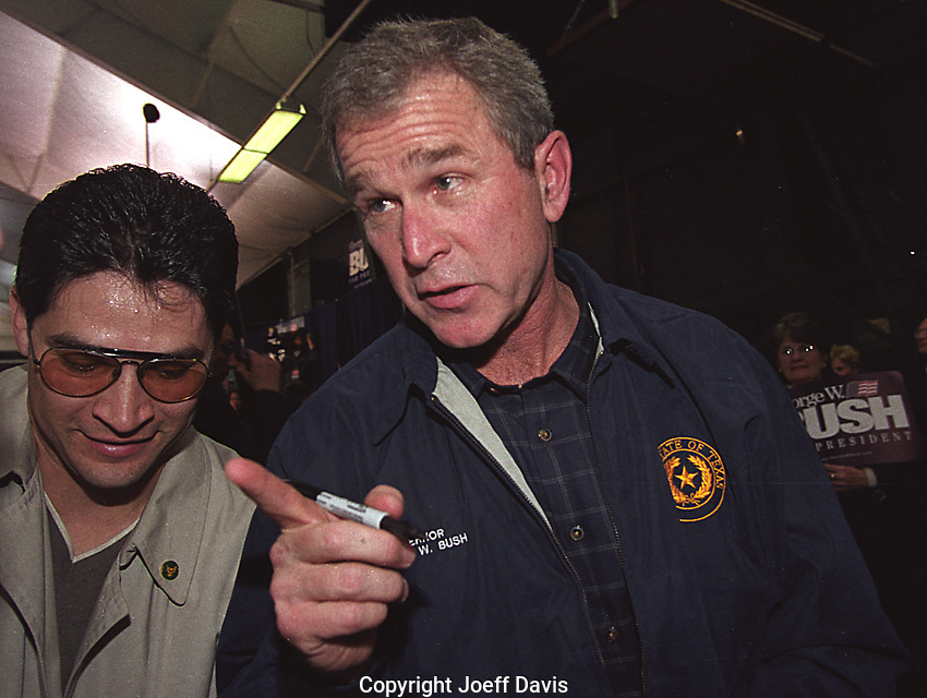 NEW HAMPSHIRE, 2000: George W. Bush campaigning for the 2000 New Hampshire Republican primary. Bush lost the primary to John McCain.