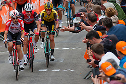 Peloton with Koen Bouwman (NED) of Team Jumbo-Visma (NED,WT,Bianchi) during the 2nd lap on Mur de Huy at 2019 La Flèche Wallonne (1.UWT) with 195 km racing from Ans to Mur de Huy, Belgium. 24th April 2019. Picture: Pim Nijland | Peloton Photos<br /> <br /> All photos usage must carry mandatory copyright credit (Peloton Photos | Pim Nijland)