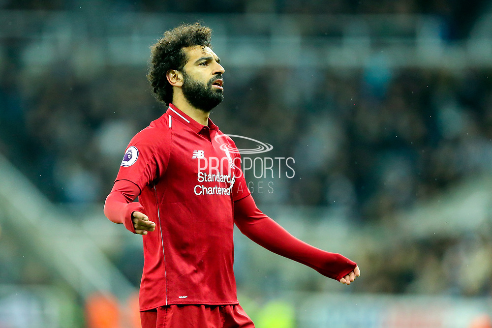 Mohamed Salah (#11) of Liverpool reacts to a misplaced pass during the Premier League match between Newcastle United and Liverpool at St. James's Park, Newcastle, England on 4 May 2019.