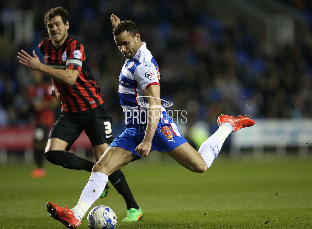 Reading midfielder Hal Robson-Kanu during the Sky Bet Championship match between Reading and Brighton and Hove Albion at the Madejski Stadium, Reading, England on 10 March 2015.