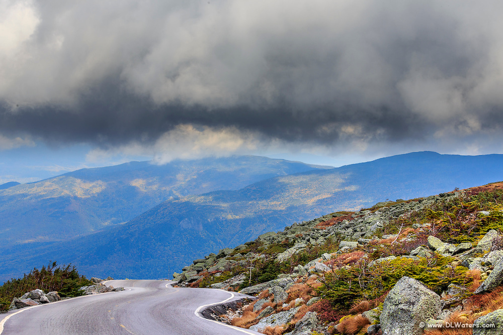 Curves and clouds at Mt Washington Auto Road in the White Mountains of NH.