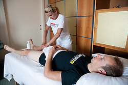 Marina Boduljak and Matej Mugerli of KK Adria Mobil during massage in Austria Trend Hotel One day before the 20th Tour de Slovenie 2013,  on June 12, 2013 in Ljubljana, Slovenia. (Photo By Vid Ponikvar / Sportida)