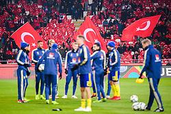 November 17, 2018 - Konya, TURKEY - 181117 Turkish flags behind players of Sweden during warm up ahead of the Nations League football match between Turkey and Sweden on November 17, 2018 in Konya..Photo: Joel Marklund / BILDBYRN / kod JM / 87808 (Credit Image: © Joel Marklund/Bildbyran via ZUMA Press)