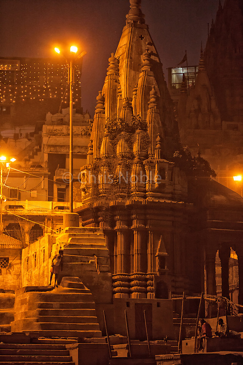 The ruins of a temple sacred to Shiva at Scindia Ghat, on the banks of the Ganges River, Varanasi India.