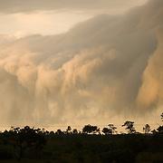 Storm clouds, nimbostratus, over the western highway, Belize.