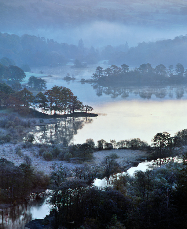 Rydal Water in the Lake District National Park near Grasmere, Ambleside and Windermere. Cumbria, England. Winter morning frost.